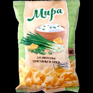"Снэки картофельн.""МИРА"" (сметана/лук)80г"