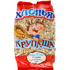 """Хлопья """"КРУПАША"""" (4 злака) пач. 400г"""