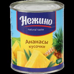 """Ананасы """"НЕЖИНО"""" (кусоч в лег. сир) 830г"""