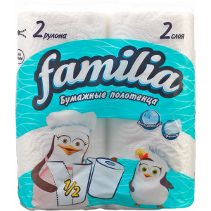 """Полотенце бум.""""FAMILIA PLUS""""(бел.2сл)2шт"""